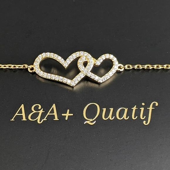 ♠️+VVS Pave Zircon Double Heart Vermeil Bracelet